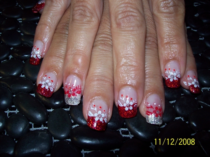 Red & Silver glitter acrylc